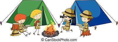 Four kids camping out