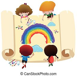 Four kids coloring rainbow on big paper