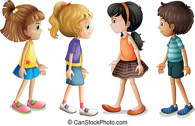 Four kids facing each other - Illustration of the four kids...