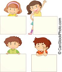 Four kids holding blank boards