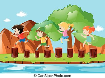 Four kids jumping on the logs