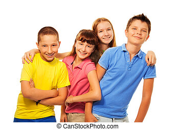 Four kids laughing