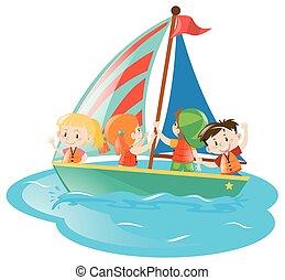 Four kids on sailboat
