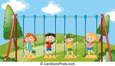 Four kids on swings in the park