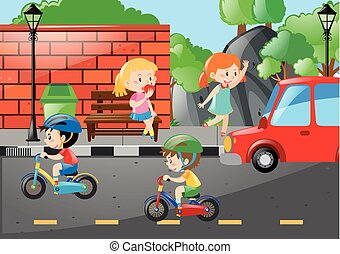 Four kids on the road