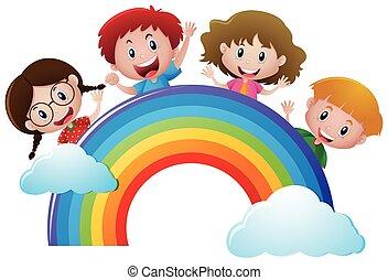 Four kids over the rainbow
