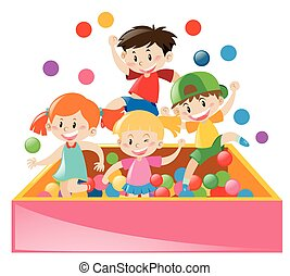 Four kids playing in ball box