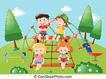 Four kids playing in playground