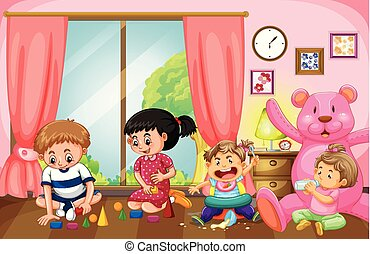 Four kids playing toys in livingroom
