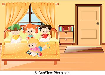Four kids reading book in bedroom