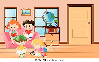 Four kids reading book in living room