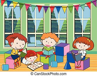 Four kids reading book in room
