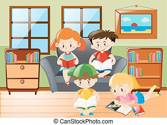 Four kids reading in living room