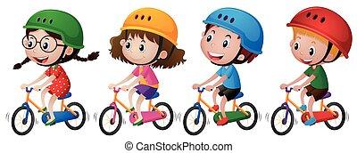 Four kids riding bike with helmet on