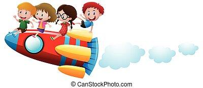 Four kids riding on rocket