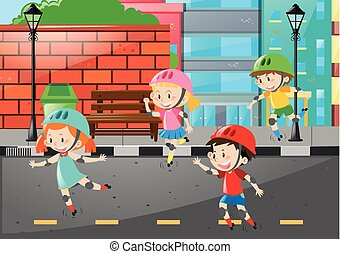 Four kids rollerskate on the road