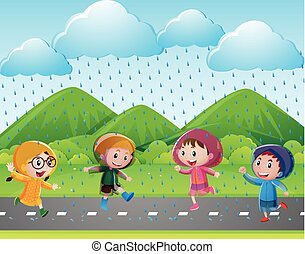 Four kids running in the rain