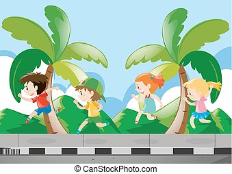 Four kids running on the pavement