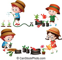 Four kids watering and planting trees