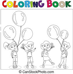 Four kids with ballons