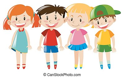 Four kids with happy face