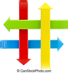 Four kinds of bright glossy arrows crossed and pointing to...