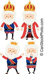 Four kings on white background