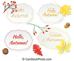 Four labels with lettering and autumn leaves