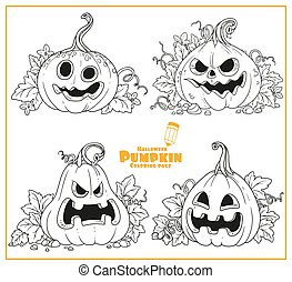 Four lantern from pumpkin with the cut out of a grin outlined for coloring page