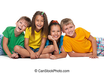 Four laughing children