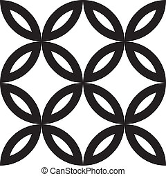 Four leaf abstract floral element combined with four circle ...