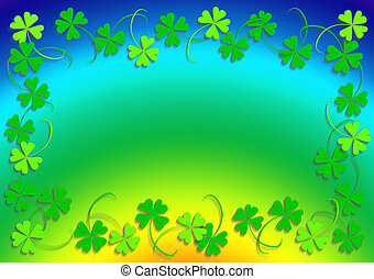 Green four leaf clover and the rainbow, frame, background, clover series, illustration