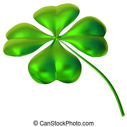 four-leaf clover as symbol of good luck - glossy four-leaf ...
