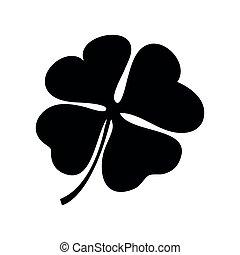 Four Leaf Clover, black and white vector illustration, Irish...
