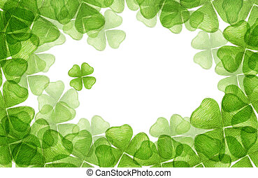 Four Leaf Clover - drawing of beautiful crayon drawing about...