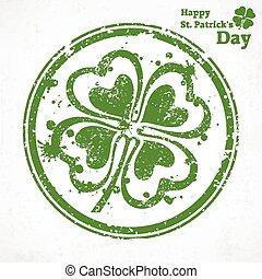 Four leaf clover grunge in round, vector illustration for St...