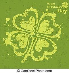 Four leaf clover grunge on green, vector illustration for St...