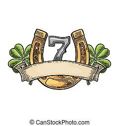 Four leaf clover, horseshoe, number seven, ribbon. Vintage ...