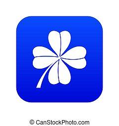 Four leaf clover icon digital blue