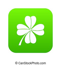 Four leaf clover icon digital green