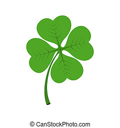 Four leaf clover icon in flat style isolated on white ...