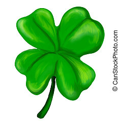Illustration of an isolated painted four leaf clover