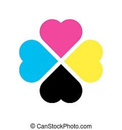 Four leaf clover in CMYK colors. Printer theme. Vector illustration