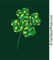 Four-leaf clover in paper style. Mosaic. Background with place for text. Symbol of St. Patrick's Day. Vector
