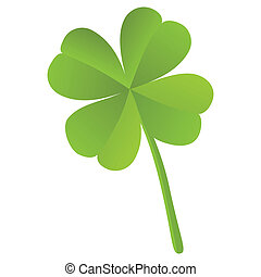 Four leaf clover isolated, St. Patrick's day (vector) - Four...