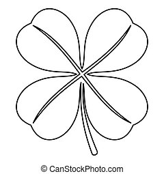 Four leaf clover leaf icon, outline style