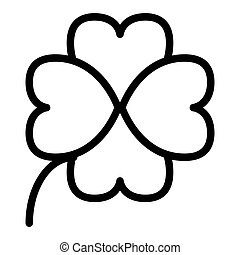 Four leaf clover line icon. Shamrock vector illustration isolated on white. Plant outline style design, designed for web and app. Eps 10.