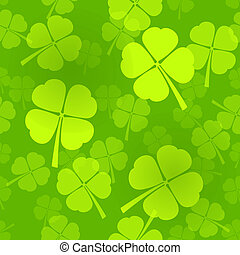 Four-Leaf Clover Pattern - Green Seamless Pattern with...