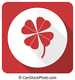four-leaf clover red flat icon