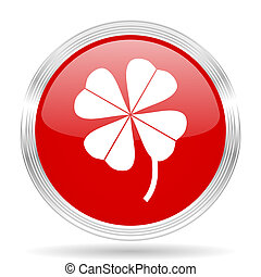 four-leaf clover red glossy circle modern web icon